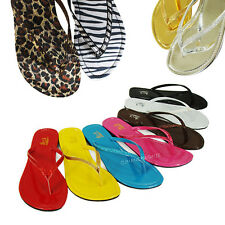 Womens Color Thong Flip Flops Slip-On Flat Sandals Slippers Summer Beach Shoes
