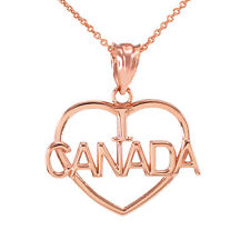 14k Rose Gold Open Heart Shaped I Love CANADA Pendant Necklace