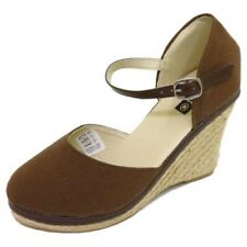 LADIES BROWN HESSIAN SUMMER STRAPPY WEDGE ESPADRILLE SANDALS SHOES SIZE 3-8