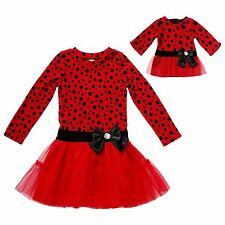 Dollie & Me Girl 4-12 and Doll Matching Red Black Dot Dress Outfit American Girl
