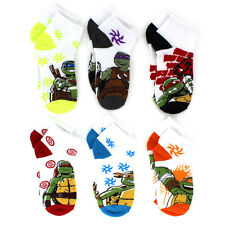 TMNT Teenage Mutant Ninja Turtles Boys 6 pk Socks 7241QH-WHT 6-8