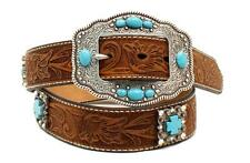 Ariat Western Womens Belt Leather Floral Tooled Concho Brown/Turq A1521644