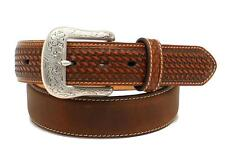 Ariat Western Mens Belt Leather Basketweave Concho Nail Heads Brown A1019644