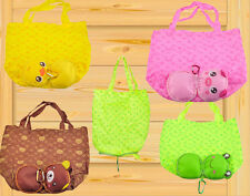 Cute Animal Foldable Folding Shopping Tote Reusable Eco Bag Frog Pig Bear Duck