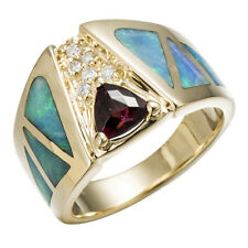 10.56 Grams 14k Yellow Gold Rhodolite & Opal & Diamond Accents Ring Size 7.5