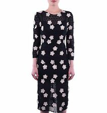 DOLCE & GABBANA RUNWAY Floral Lace Dress with Applications Black 03749