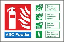 ABC Powder Fire Identification Sign 150x100mm,Rigid Plastic Or S/A Pack Of 2