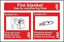 Fire Blanket Fire Identification Sign 150x100mm,Rigid Plastic Or S/A Pack Of 2