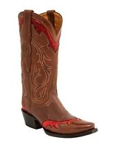Lucchese M4984 Womens Cognac Cowhide Wingtip Leather Western Cowboy Boots