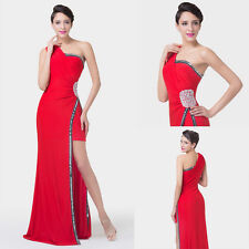 Sexy 1 Shoulder Split Homecoming Gown Evening Prom Party Dress Red Long Formal