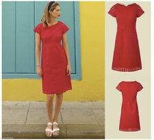 White Stuff Paradise Red Broderie Anglaise Shift Tea Summer Dress Size 8 10 12