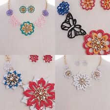 Necklace Butterfly Flower Floral Rhinestones Multicolor Sylish Fashion Earrings