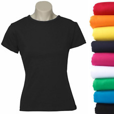 Women's Plain Ladies T SHIRT 100% COTTON Basic Tee Casual Top Size 6-24 BULK New
