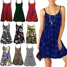 Women Ladies Sleeveless Printed Flared Strappy Long Vest Top Mini Dress Size8-26