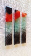 POPPIES STUNNING PIECE OF FUSED GLASS WALL ART  200mm by 50mm EACH PIECE