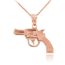 14k Solid Rose Gold Revolver Pistol Gun Pendant Necklace