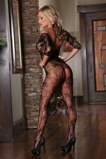 Net Catsuit Open crotch Bodystocking Floral pattern Nylon Bottomless Erotic