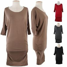 Sexy Wide Scoop Neck Dolman 3/4 Sleeve Hacci Long Tunic Knit Sweater Mini Dress