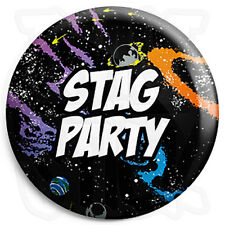 Stag Party - 25mm Space Wedding Button Badge with Fridge Magnet Option