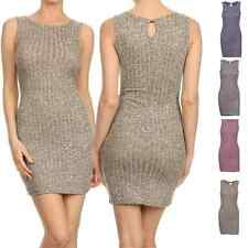 Sexy Crochet Ribbed Knit Sleeveless Bodycon Stretch Cocktail Club Mini Dress
