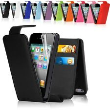PU LEATHER FLIP CASE COVER FOR Apple iPhone 4 / 4S + FREE SCREEN PROTECTOR