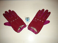 Portolano Women's Patent Leather Driving Gloves Pink Purple Lined NWT Sz 7