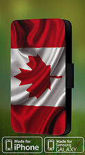 CANADIAN NATIONAL FLAG FAUX LEATHER FLIP PHONE CASE COVER L187