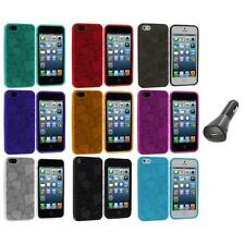 3D Hearts Love Color TPU Rubber Skin Case Cover+Car Charger for iPhone 5 5S 5th
