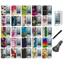 Flower Hard Rubberized Case Cover+LCD+Charger+Pen for iPod Touch 5th Gen 5G