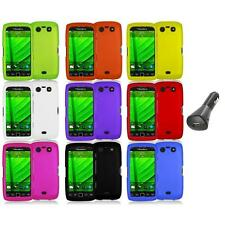 Color Hard Rubberized Case Cover+Car Charger for Blackberry Torch 9850 9860