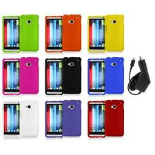Color Hard Snap-On Rubberized Cover Case Accessory+Charger for HTC One M7
