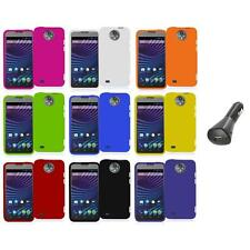 For ZTE Sprint Vital N9810 Hard Snap-On Rubberized Case Cover+Car Charger