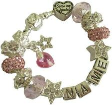 PERSONALISED CHARM BRACELET Any Name SWAROVSKI BIRTHSTONE HEART Rose OCTOBER