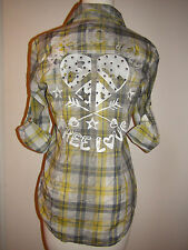 Affliction Sammy Long Sleeve Woven Button up Shirt Top Yellow NWT $88 111WV004