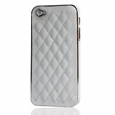 Quilted Leather Chrome Bumper Back Case Cover Shell For iPhone 5 5s