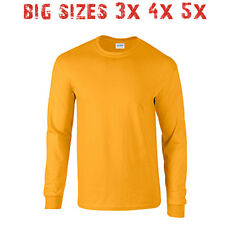 Big 3X 4X 5X Men's Long Sleeve T Shirt Plain Unisex 3XL 4XL 5XL Gold