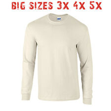 Big 3X 4X 5X Men's Long Sleeve T Shirt Plain Unisex 3XL 4XL 5XL Natural