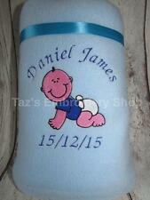 PERSONALISED BABY BLANKET NEW BABY BOY GIRL EMBROIDERED NAME NEWBORN GIFT