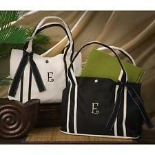 Roman Holiday Petite Tote Initial Personalized Natural or Black Shopping Bag New
