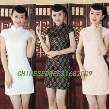 pink black Chinese embroider Women's lace evening mini Dress Cheong-sam 8-14