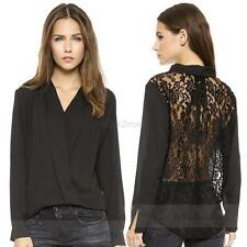 Sexy V-neck Blouse Long Sleeve Chiffon Top Women Lace Back Hollow Out Shirt OL