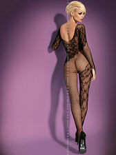 Sexy Catsuit Mesh Open crotch Bodystocking Nylon Bottomless Long sleeve Flowers