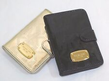 New MICHAEL KORS MK PASSPORT CASE WALLET SIGNATURE BLACK and PALE GOLD NWT