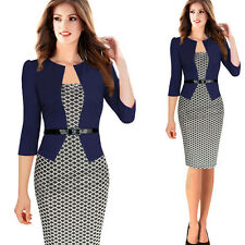 Women Office Formal Business Work Stretch Cocktail Party Evening OL Pencil Dress