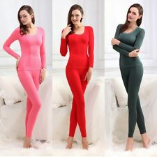 Multi-Colors Women Elastic Solid Thermal Underwear Lace Trim Top+Pants Free Size