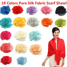 NEW 100% Pure Silk Fabric Mulberry Fashion Women Pure Color Long Scarf Shawls