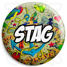 Stag - 25mm Tattoo Wedding Button Badge with Fridge Magnet Option