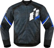 NEW 2016 ICON BLACK/BLUE OVERLORD PRIMARY MOTORCYCLE JACKET STREET CRUISER MOTO