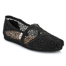 Toms Classic Black Morocco Crochet Black Womens Shoes  - 001096B10BLK