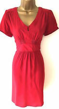 M&Co Crimson Red Tea Dress 40s Vintage Style Pleated with Tie Back Size 18 20
